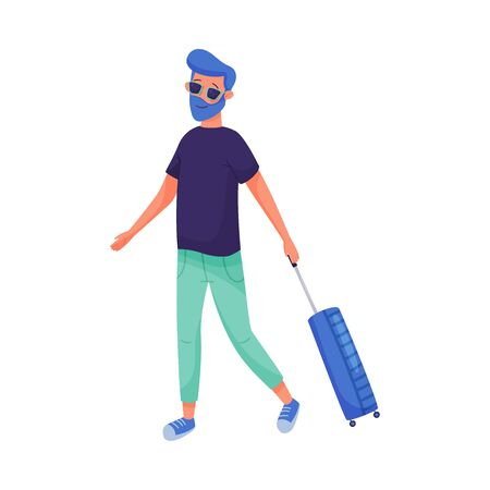 Young Traveling Bearded Man Walking and Pulling Luggage Vector Illustration Stock Illustratie