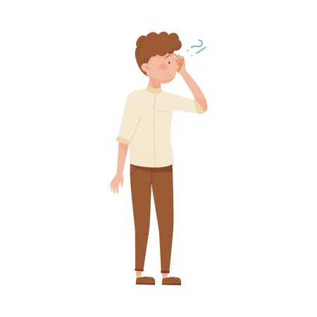 Young Man Standing with Thoughtful Expression on His Face and Question Mark Vector Illustration