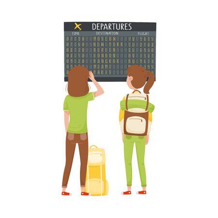 Women Standing in Front of Display Board in the Airport Looking for Their Flight Vector Illustration Ilustración de vector