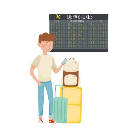 Young Smiling Man Standing Near Display Board in the Airport Holding Smartphone Vector Illustration