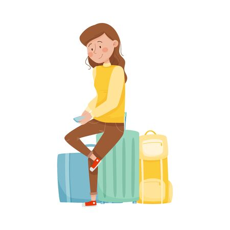 Young Smiling Woman Sitting in the Airport and Holding Smartphone Waiting for Her Flight Vector Illustration