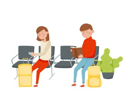 Woman and Man Waiting Flight in the Airport. Female Sitting on Bench Using Smartphone and Male Reading Book Vector Illustration