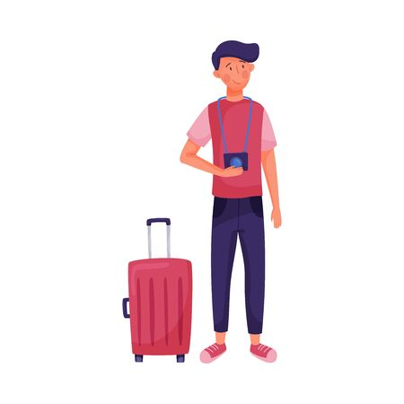 Traveling Dark-haired Young Man Standing Near Suitcase Holding Camera Vector Illustration