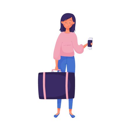Traveling Dark-haired Smiling Woman Holding Suitcase and Coffee Cup Vector Illustration
