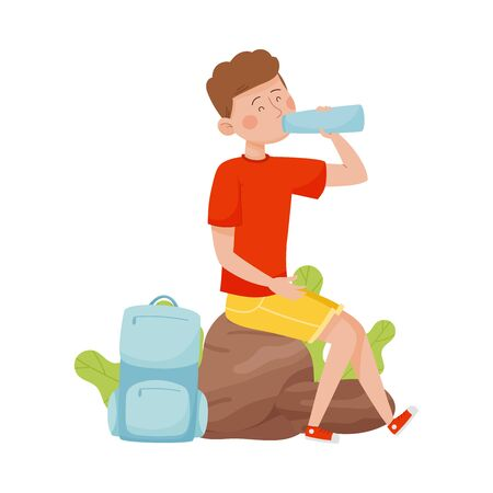 Young Man Sitting on Boulder and Drinking Water Vector Illustration