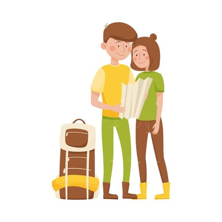 Young Man and Woman Standing and Examining the Map Vector Illustration Иллюстрация