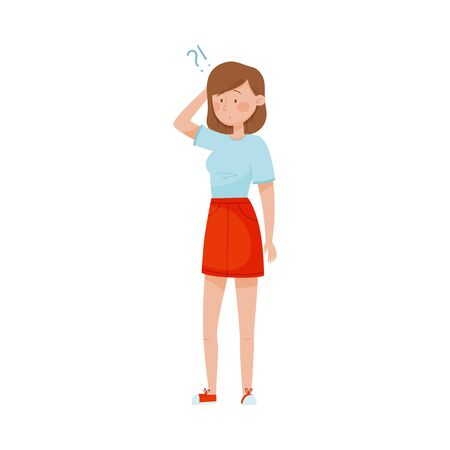 Young Woman Standing with Thoughtful Expression on Her Face and Question Mark Vector Illustration. Female Scratching Her Head with Far Away Look Ilustrace