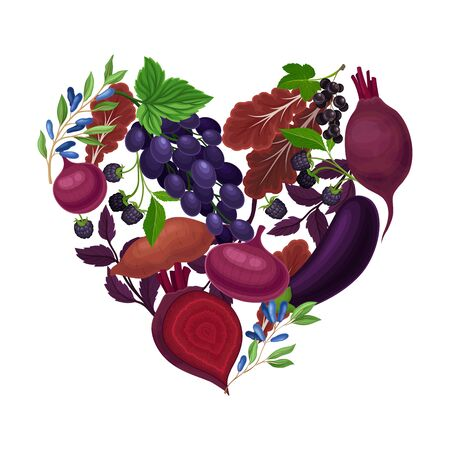 Fruits and Vegetables Arranged in Heart Shape Vector Illustration. Natural Organic Food for Vegetarians Concept.