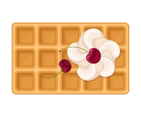 Rectangular Shaped Waffle with Textured Surface and Whipped Cream with Cherry Top View Vector Illustration