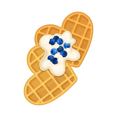 Heart Shaped Waffles with Textured Surface and Sweet Whipped Cream Topping Top View Vector Illustration