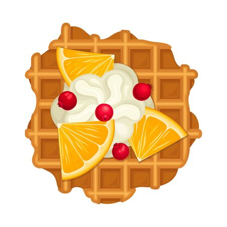 Crunchy Waffle Piece with Textured Surface and Whipped Cream Topping wtih Lemon Slices Vector Illustration