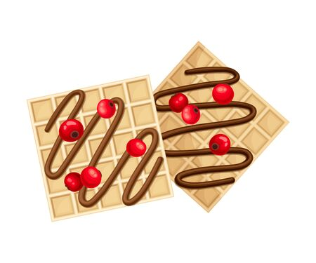 Square Shaped Waffle with Textured Surface and Chocolate Topping with Cranberry Top View Vector Illustration Vettoriali
