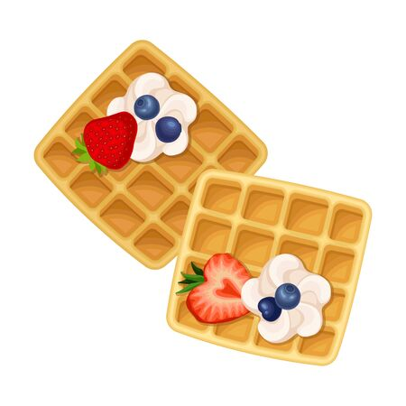 Square Shaped Waffle with Textured Surface and Whipped Cream with Berries Top View Vector Illustration 矢量图像