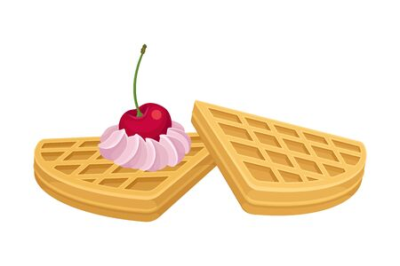 Heart Shaped Waffles with Textured Surface and Sweet Whipped Cream Topping Side View Vector Illustration