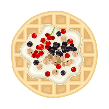 Rounded Waffle with Textured Surface and Creamy Topping with Berries Top View Vector Illustration