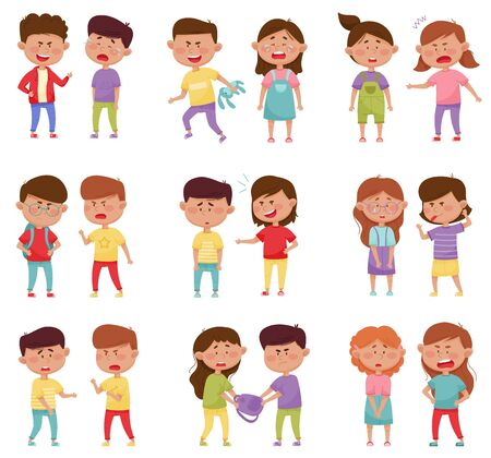 Bullying Children Characters Abusing and Treating Badly Another Kids Vector Illustrations Set
