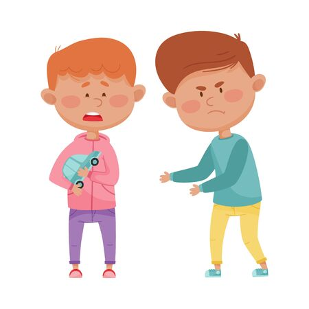 Little Boy with Aggressive Face Expression Going to Take Away Toy Car from His Agemate Vector Illustration Vektorové ilustrace