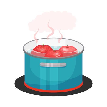 Apples Boiling in Cooking Pot Standing on Hot Plate Vector Illustration. Compot Preparation Process Concept
