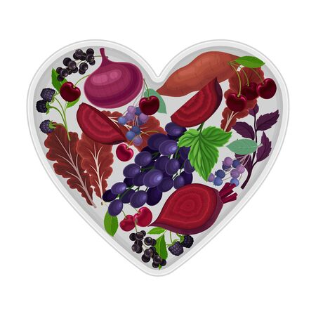 Vegetarian Heart Shaped Arrangement with Herbs, Vegetables and Berries Vector Illustration