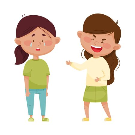 Little Girl Teasing and Laughing at Her Crying Agemate Vector Illustration. Bullying and Warring Behavior Concept