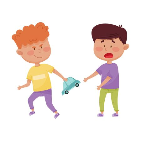 Little Boy with Grin on His Face Taking Away Toy Car from His Agemate Vector Illustration. Bullying and Aggressive Behavior Concept