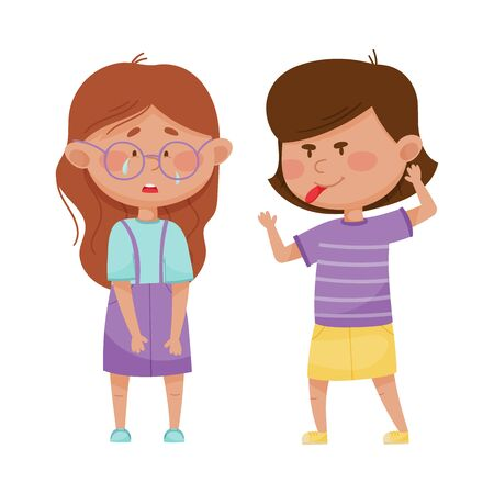 Little Girl Teasing and Laughing at Her Agemate Vector Illustration