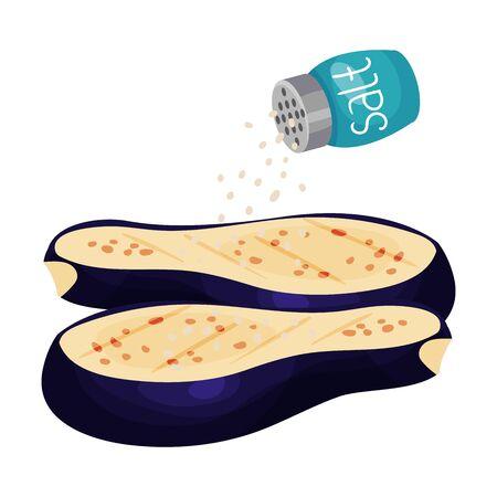 Sprinkling Salt on Halved Eggplant Isolated on White Background Vector Illustration Stock Illustratie