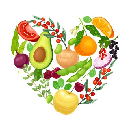 Vegetarian Heart Shaped Arrangement with Herbs and Vegetables Vector Illustration. Organic Healthy Food Concept Иллюстрация