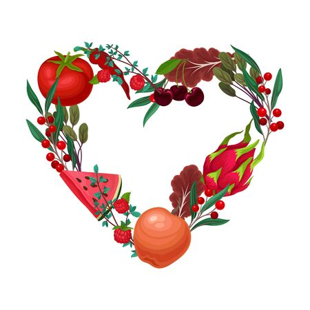 Vegetarian Heart Shaped Arrangement with Herbs, Vegetables and Fruits Vector Illustration