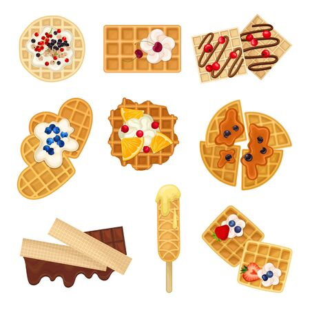Different Waffles with Textured Surface and Sweet Chocolate and Berry Topping Vector Set