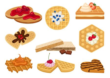 Different Waffles with Textured Surface and Sweet Chocolate and Berry Topping Vector Set. Dessert Made of Leavened Batter or Dough Concept Ilustrace