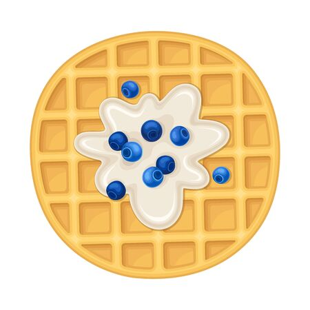 Rounded Waffles with Textured Surface and Creamy Topping with Blueberries Vector Illustration Vettoriali