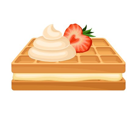 Rectangular Shaped Waffle with Textured Surface and Whipped Cream on the Top Vector Illustration