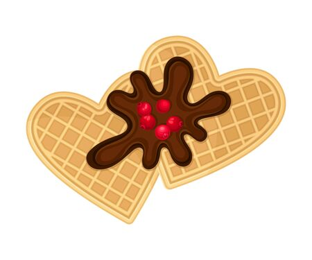 Heart Shaped Waffles with Textured Surface and Sweet Chocolate Topping with Cranberry Vector Illustration