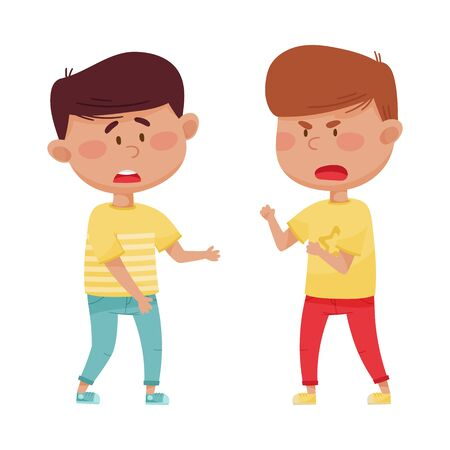 Little Boy with Angry Face Shouting at His Agemate Vector Illustration