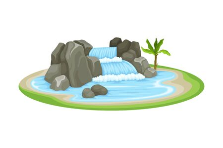 Low Tropical Waterfall with Rocky Stone Bounds Rested on Green Island Spot Vector Illustration. Falling Water Stream Concept