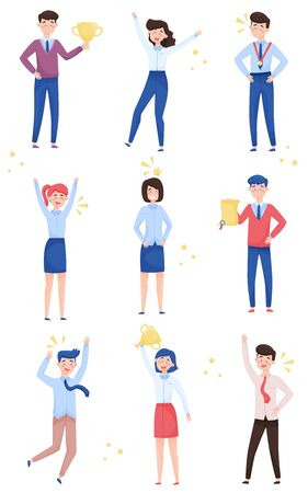 Happy Young Men and Women Standing in Different Poses and Cheering About Victory Vector Illustrations Set