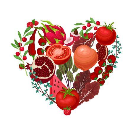 Fruits and Vegetables Arranged in Heart Shape Vector Illustration