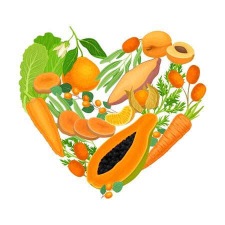 Fruits and Vegetables Arranged in Heart Shape Vector Illustration
