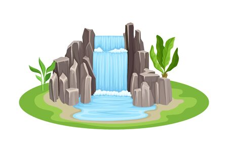 Low Tropical Waterfall with Rocky Stone Bounds Rested on Green Island Spot Vector Illustration