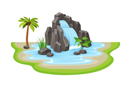 Tropical Waterfall with Cliffy Bounds and Exotic Plants Growing Around Vector Illustration Vettoriali