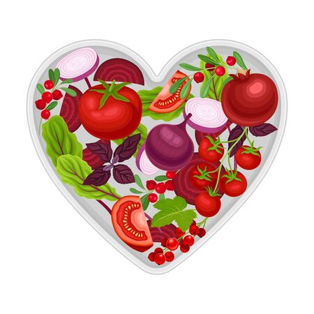 Vegetarian Food Heart Shape with Ripe Vegetables and Berries Vector Illustration