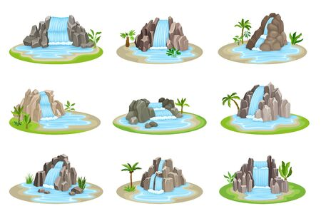 Low Tropical Waterfalls Rested on Green Rounded Island Spot Vector Set. Falling Water Stream Concept