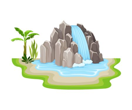 Tropical Waterfall with Cliffy Bounds and Exotic Plants Growing Around Vector Illustration