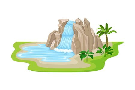 Tropical Waterfall with Cliffy Bounds and Exotic Plants Growing Around Vector Illustration. Falling Water Stream Concept
