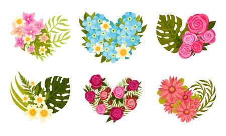 Heart Shaped Floral Compositions with Tropical Leaves and Flowers Vector Set