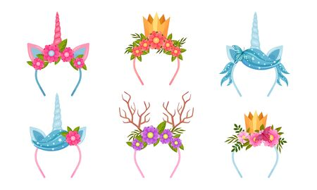 Headbands with Flowers and Decorative Elements like Horns and Crown Vector Set 向量圖像