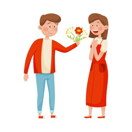 Smiling Man Giving Bunch of Flowers to Woman Vector Illustration