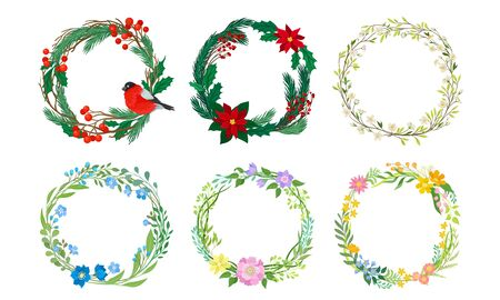 Floral Wreaths with Fir Branches, Green Twigs and Flowers Vector Set