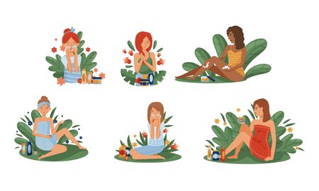 Women Using and Testing Natural Organic Cosmetic Products with Botanical Leaves Behind Vector Illustrations Set Vektorové ilustrace